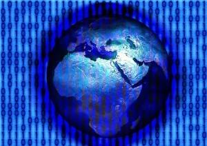 A blue globe with computer code behind it signifying website hosting