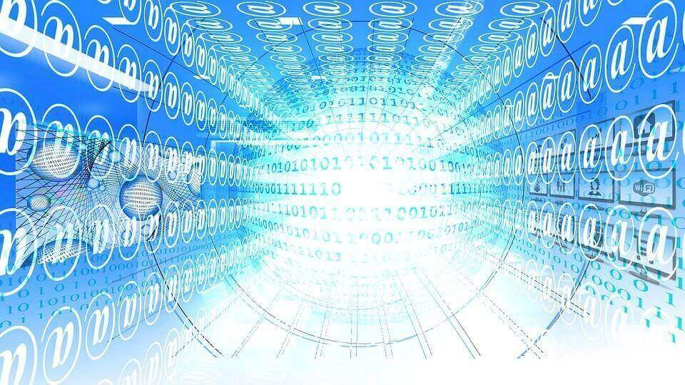 a white ball of light on a blue background with lines of code emanating from it's centre symbolising website hosting