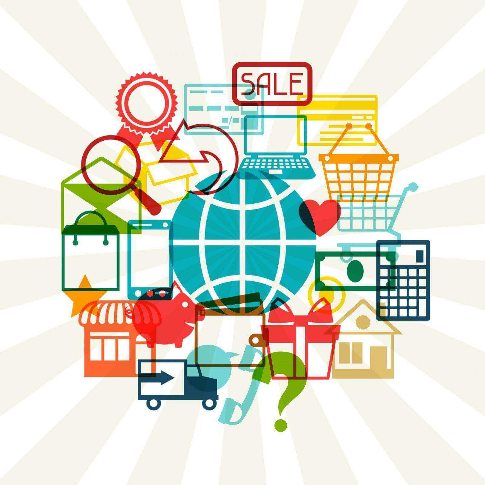Internet shopping concept background.