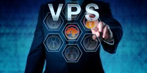Corporate service provider is pressing VPS on virtual interactive touch screen interface. Business metaphor. Web hosting and computer network security concept for server virtualization