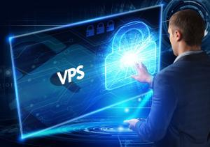 Business, Technology, Internet and network concept. Business man working on the tablet of the future, select on the virtual display: VPS