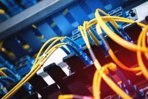 fiber optic in server room close up