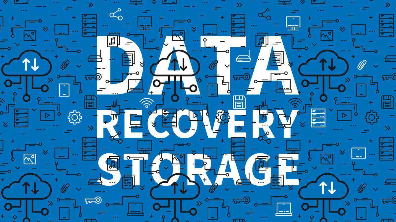 Data recovery storage vector illustration with pattern background. Server cloud technology graphic design. Remote file recovery storage creative concept. Line art concept.